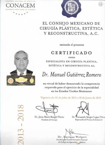Certified by CONACEM